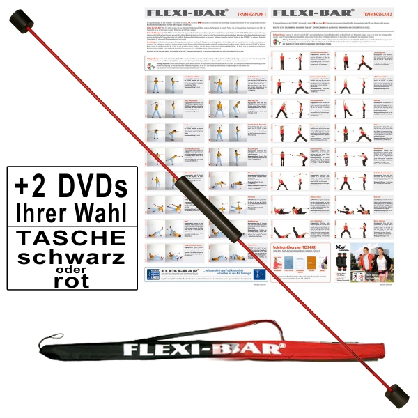 Original Flexi-Bar Starter Paket Standard rot´´: Tasche Schwarz, DVD Fit in 7 Tagen, DVD Wellness